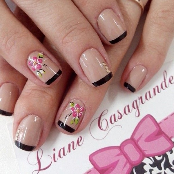 Black Tips Flower Nail Art Design Nails Redesigned