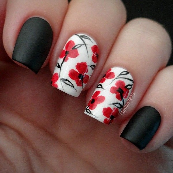 Black White And Red Floral Nail Art Design Nails Redesigned