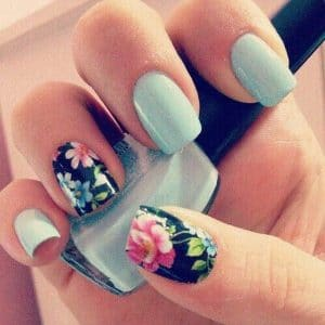 Matte Sky Blue Flower Nails