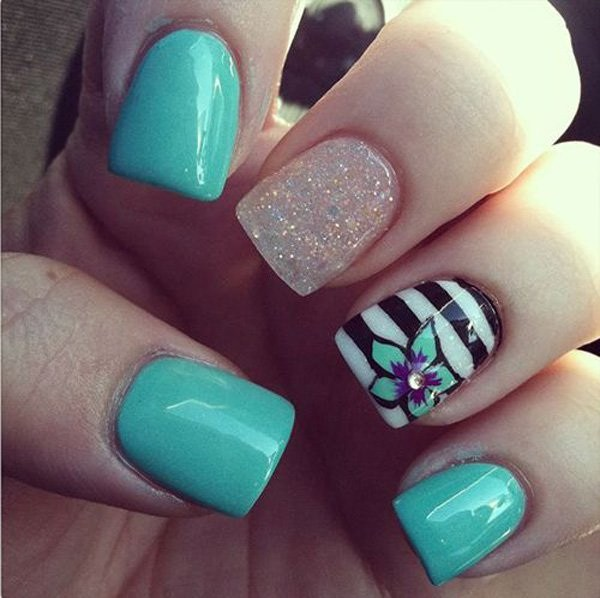 Sea Blue Strips And Flower Nail Design Nails Redesigned
