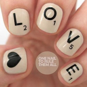 Heart And Scrabble Tile Nails