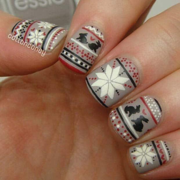 Winter Fair Isle Print Nail Design Nails Redesigned